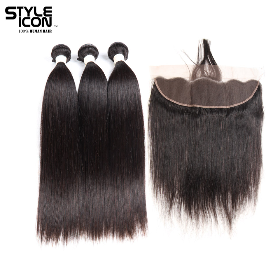 Styleicon Pre-colored 3 Bundles With Frontal Non Remy Brazilian Straight Hair Weave Bundles Lace Frontal Closure With Bundles