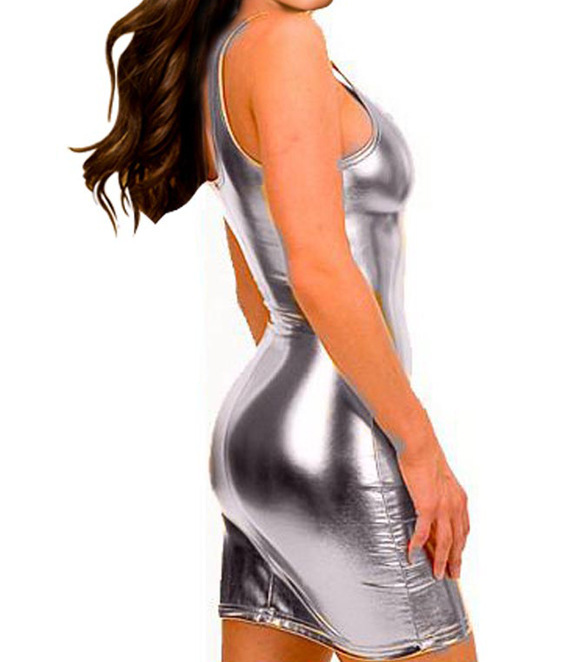SexeMara tejido E9 WomenTank Dress Super Sexy de cuero sintético - Ropa de mujer - foto 4