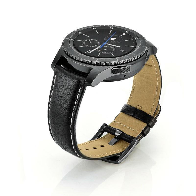 imágenes para Para galaxy gear s3 clásico/frontier smartwatch banda, 22 MM Reemplazo de la Correa de Cuero Genuino Hebilla de La Correa de Muñeca Banda