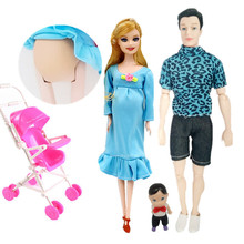 Toys Family 4 People Dolls Suits 1 Mom /1 Dad /2 Baby Son/1 Baby Carriage Real Pregnant Doll Gifts XD207 цена