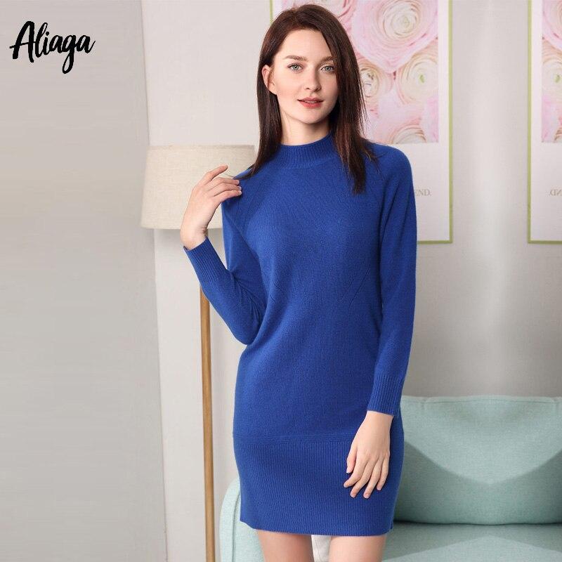 Модные женские туфли вязаные платья одноцветное Демисезонный 100% кашемир платье свитер женщина пикантные Водолазка по колено Тонкий пулове