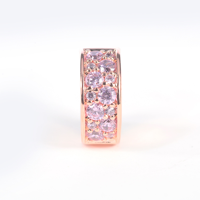 a231ba11d Rose Gold Spacer Clip Bead Fits Pandora Bracelets DIY Jewelry Mosaic Shining  Elegance 100% 925 Sterling Silver Charms