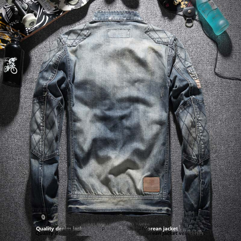 Модная Джинсовая куртка мужская джинсовая куртка над пальто одежда с воротником стойкой - 2