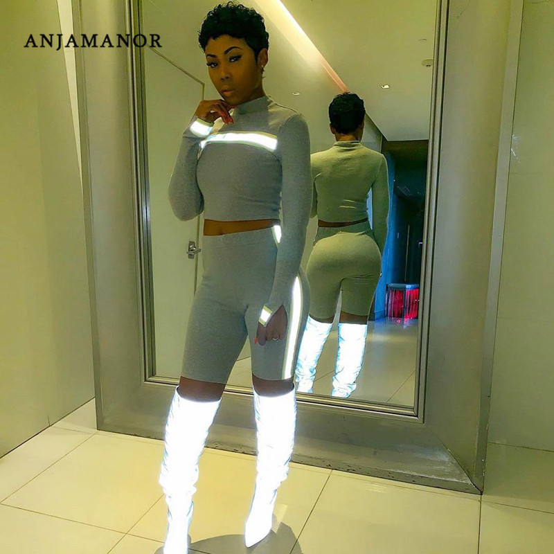 ANJAMANOR Fashion Reflective Ribbon Neon Two Piece Set Tracksuit Women 2019 Sexy Matching Sets Short Club Outfits D29-AC54