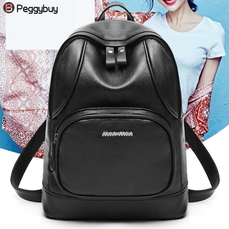 Preppy Casual Women Backpacks Girls Pu Leather Travel Rucksack School Shoulder Bag Classic Pu Black Unisex Backpack Mochila