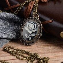 White Rose Flower Bronze Retro Quartz Pocket Watch Necklace Pendant Watch Necklace Pendant Clock Chain Men's Women