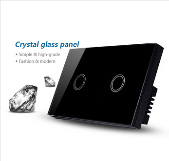 Black smart touch light switches and 2 gang 1 way light switch / interruptor de luz wall switch smart home us au wall touch switch white crystal glass panel 1 gang 1 way power light wall touch switch used for led waterproof