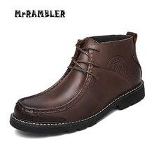 Nouveau Cuir Hommes Bottes À La Main Chaussons Hommes Automne Chaussures de Haute Qualité Printemps Cheville Bottes Hommes Chaussures Plus La Taille 38-46