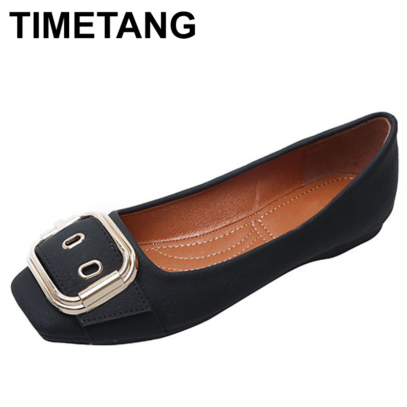 TIMETANG Square head Shallow Mouth Women Shoes Woman Bottom Belt Buckle Solid Color Work Shoes Female Four Seasons Single C136 стоимость