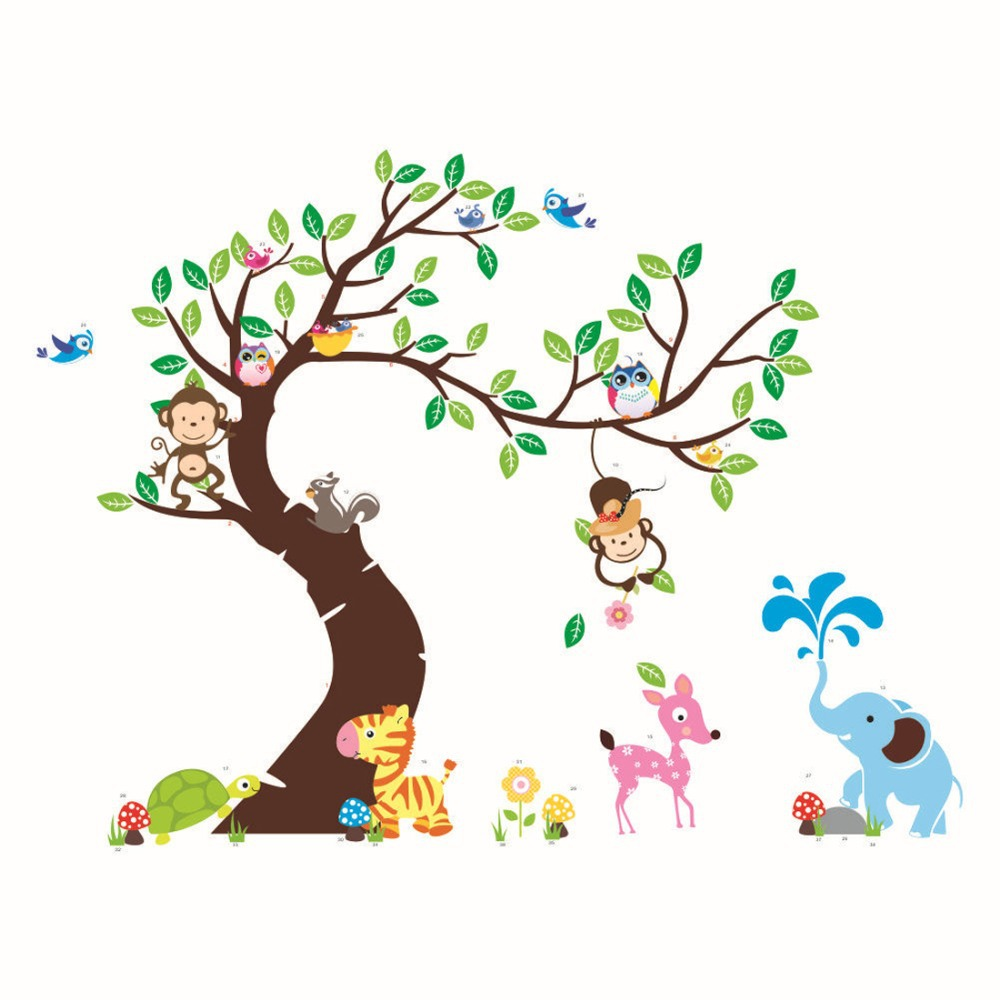 Cute jungle animals tree monkey owl wall sticker for kids rooms cute jungle animals tree monkey owl wall sticker for kids rooms child diy stickers wall art decals home decoration in wall stickers from home garden on amipublicfo Gallery