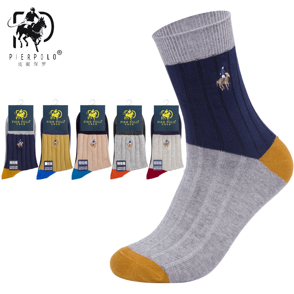 High Quality Brand PIER POLO Spell Color Socks Fashion Casual Cotton Crew Socks Business Embroidery Autumn Winter Men's Socks
