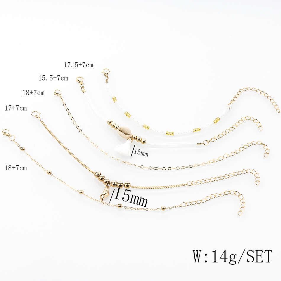 Bohemia Conch shell Bracelets Woman Golden Beads Rope tassel Chain Charm Bracelet Set Female Fashion 2019 Jewelry