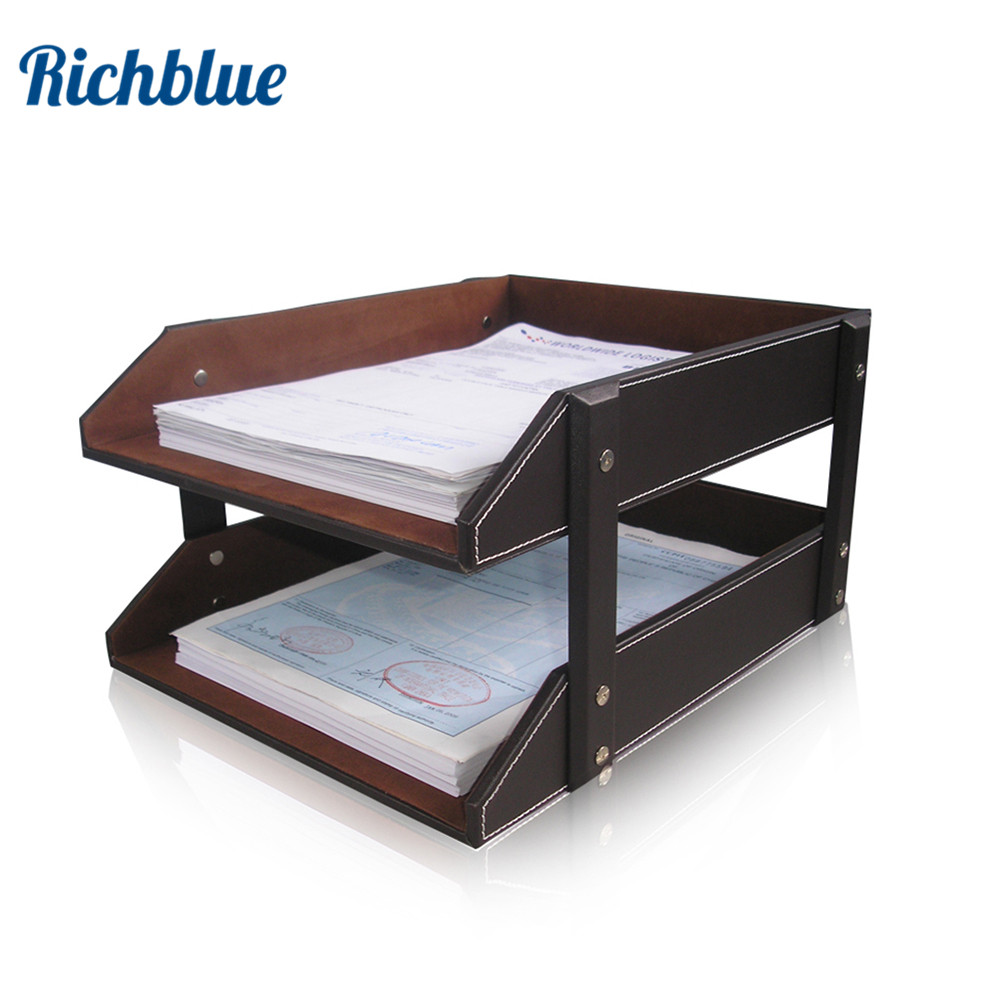 Ever Perfect Double Layer Pu Leather File Document Tray