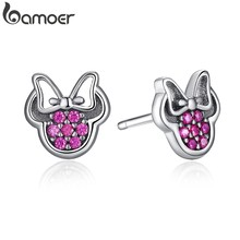 BAMOER Presents 925 Sterling Silver Red Shape Sparkling Minnie Fashion Jewelry Special Store PAS414(China)