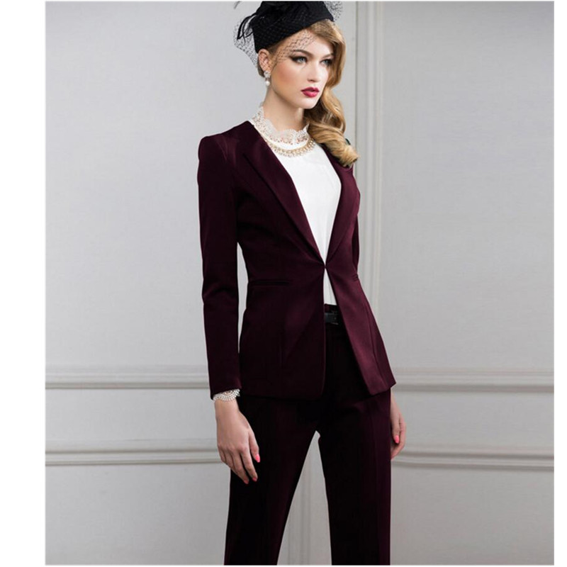 2018 Sale Pantalones Mujer Women Suit Fashion Professional Ol Dress Business Formal Jacket + Pants High Quality Custom Womens