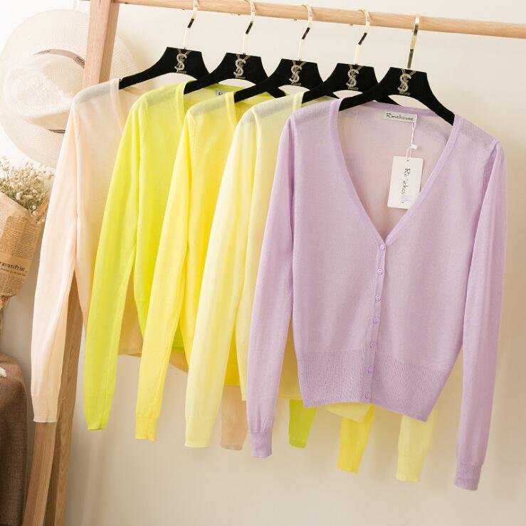 Queechalle 20 Colors Short Cardigan Coat Summer Spring Women's V Neck Ice Silk Thin Coats Pink White Black Yellow Green Red Blue