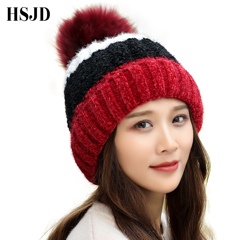 2018 New Winter Hats Women Big Pom pom Ball Knitted Hat Girl Chenille Stripe Warm Thick   Skullies     Beanies   Female Casual Ski Cap