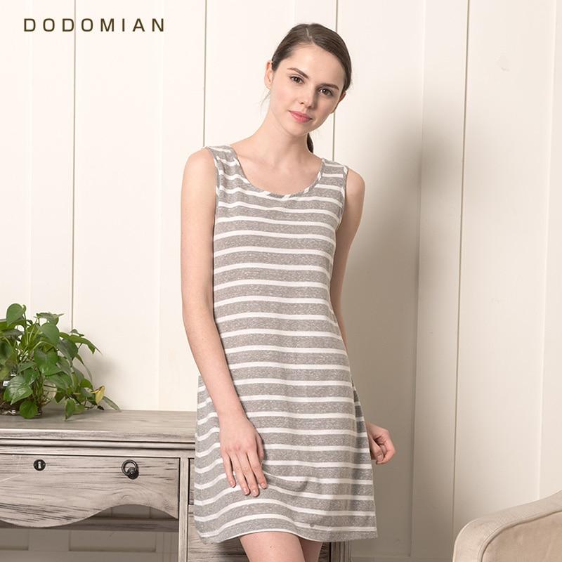 DO DO MIAN Sleep Dress Cotton   Nightgown   for Women O Neck Knee-length   Sleepshirts   Gray Stripe Summer Sleeveless Sleepwear M L XL