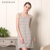 DO DO MIAN 2017 Cotton Nightgown For Women O Neck Knee Length Sleepshirts Gray Stripe Summer