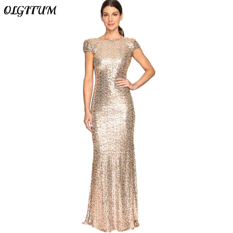 Sexy Women Night Party Dress Gold Sequin Long Dresses U-shaped Backless  Slim Floor- bc4554377a42