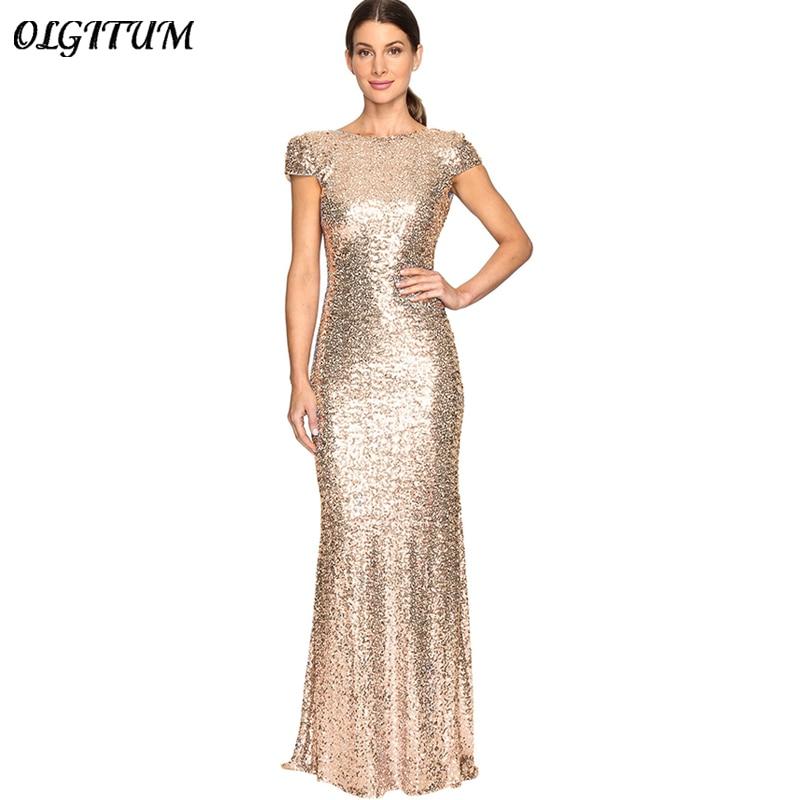 Sexy Women Night Party Dress Gold Sequin Long Dresses U-shaped Backless Slim Floor-Lengt ...