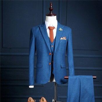 b3915db0e4288 Düğün Elbise 2018 Mavi Terno Masculino Kostüm Homme Mariage Mavi Smokin  Trajes de Hombre Mavi Takım Elbise Iş erkek Takım Elbise