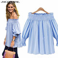 Women's Shirt Sexy Off Shoulder Tops Striped Women Blusas Plus Size Summer Tops Slash Neck Shirts Women Blouse 2017 Loose Blouse