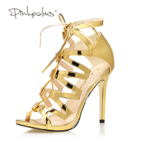 Pink Palms 2017 women summer high heels shoes gold color shiny cross strap and PVC party wedding dress OL metallic sandals