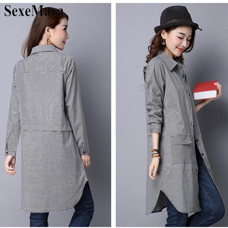 SexeMara Korean Version Of Large Size Lapel Cotton And Black And White Plaid Long Loose Shirt Female Blusas Mujer De Moda 2019 (10)