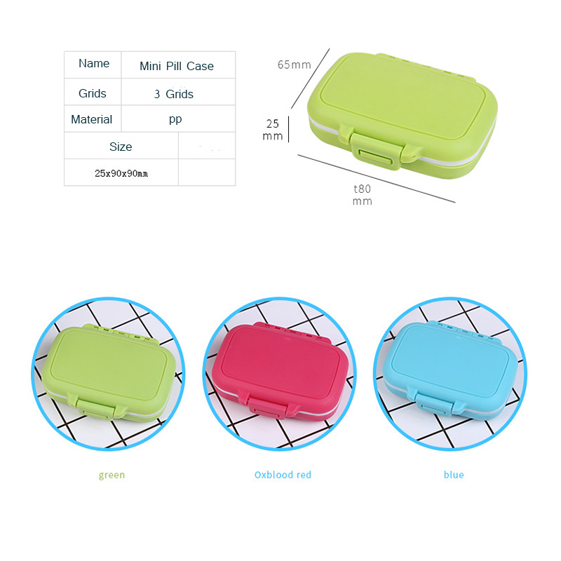 Купить с кэшбэком Portable Mini Pill Case Medicine Boxes 3 Grids Travel Home Medical Drugs Tablet Empty Container Home Holder Cases