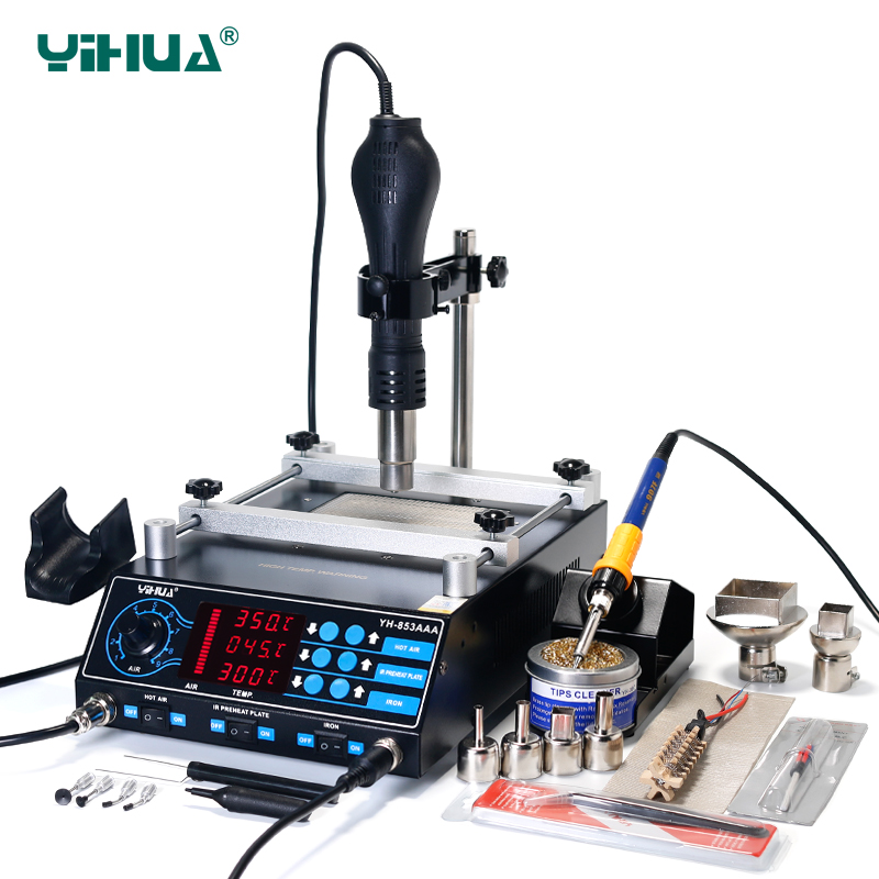 YIHUA 853AAA 1350W Preheating Station PCB Preheater Soldering Station BGA Rework Station Soldering Iron Heat Gun Welding Station-in Soldering Stations from Tools