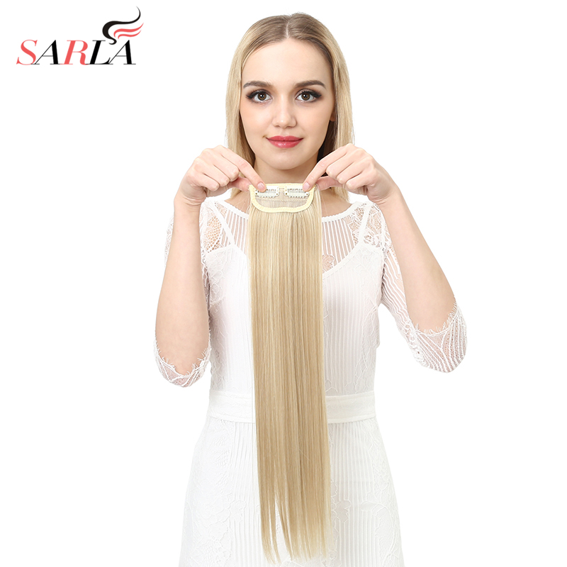 "SARLA 20"" 24"" 28"" Synthetic Hairpieces Straight Hair Extension Clip-in Hair Extensions Highlight Hair High Temperature Fiber"