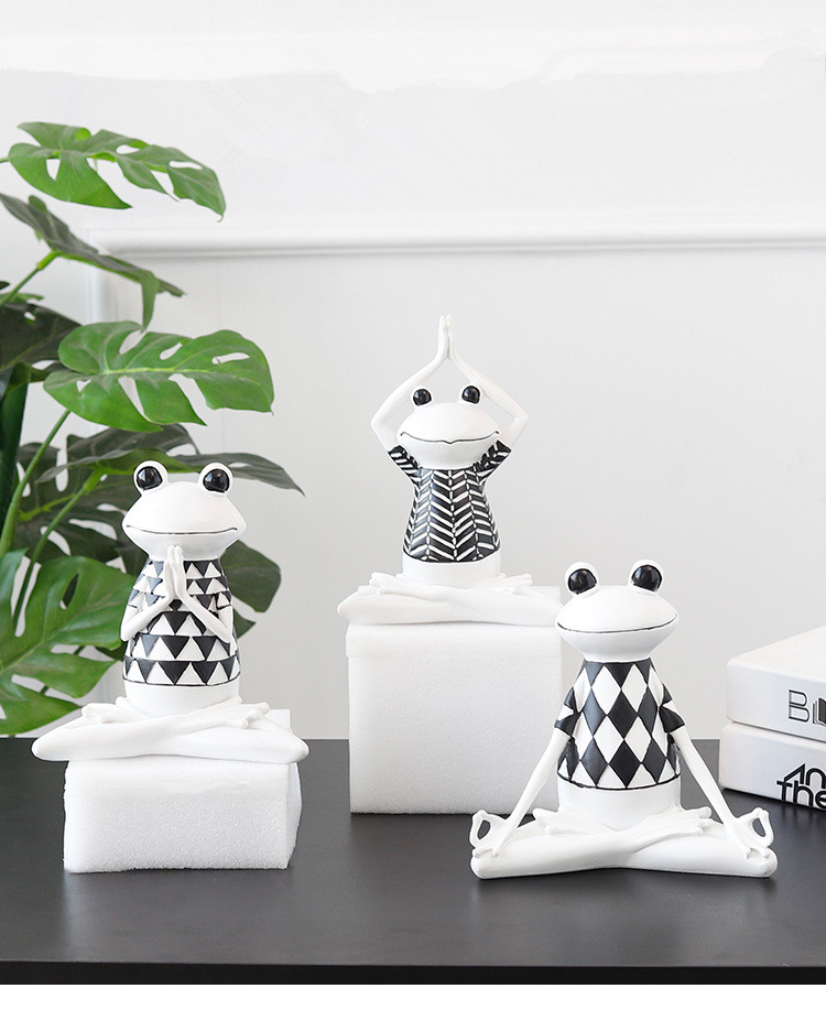 1PC Nordic Resin Yoga Frog Decoration Home Accessories Creative Living Room TV Cabinet Children Room Decoration Gift JL 268|Figurines & Miniatures| |  - title=