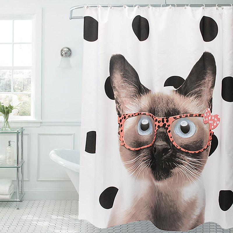 Newest!!!Waterproof Cats Wear Glasses Art Shower Curtain Tub Curtain Bath Bathing Sheer Home Decorations With 12 Hooks 180x200cm