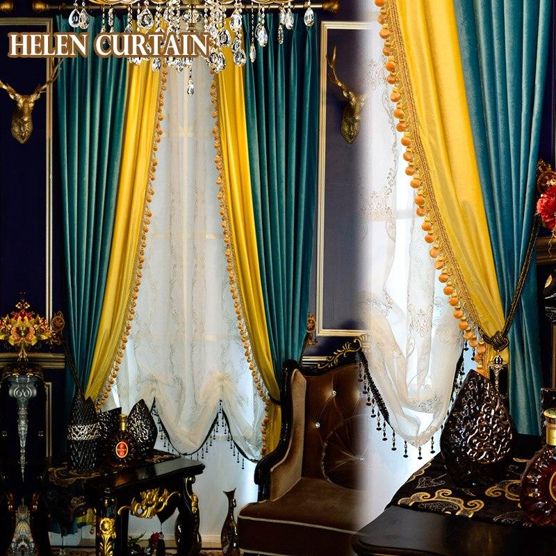 Helen Curtain Luxury Italian Velvet Splice Yellow Green European Style Curtains For Living Room White Tulle Window Valance v-96