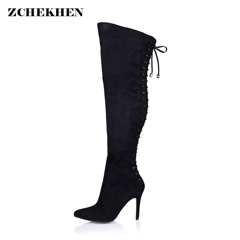 sexy pointed toe flock women cross tied thigh high boots over the knee boots 9.8cm high heeled long red boots women size 35-43 2017 autumn winter women motorcycle boots high heeled elasticity over the knee high boots pointed toe female long boots