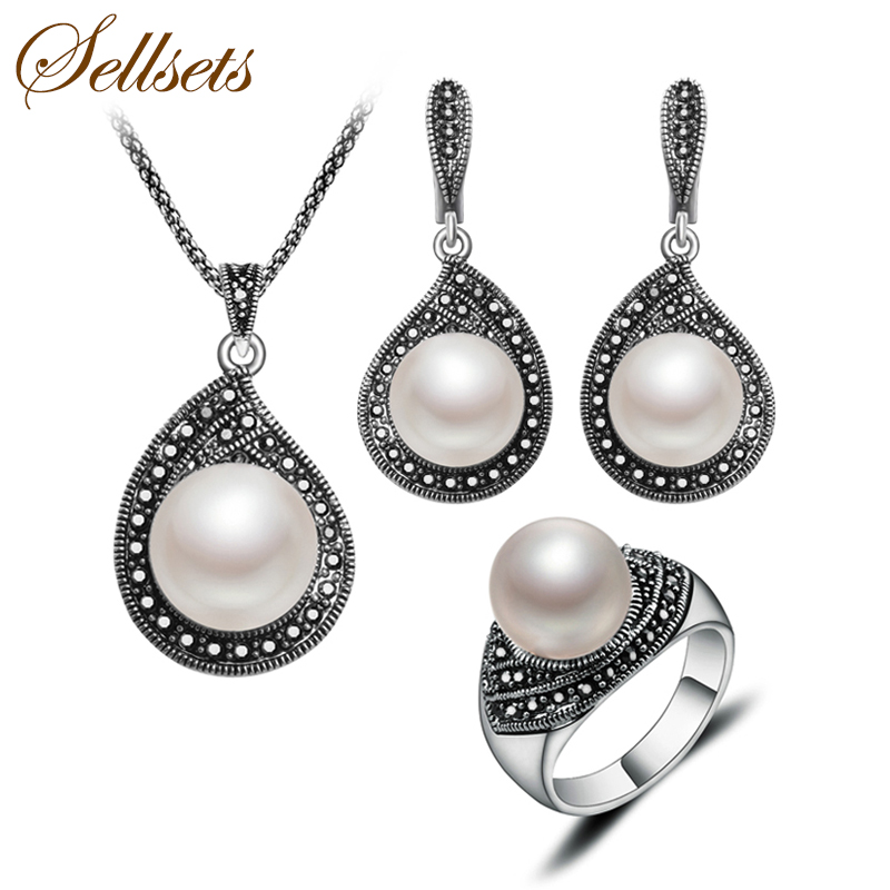 Sellsets New Fashion Teardrop Design Imitation Pearl And Rhinestone Jewelry Set Vintage Silver Color Jewellery Sets For Women