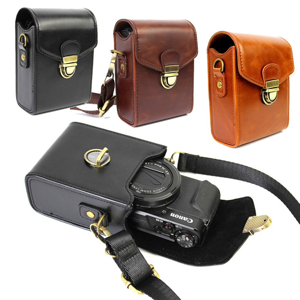 PU Leather Camera Case For Canon PowerShot G9X G7X G7X Mark II S120 SX600 IXUS 275 G16 SX720 SX710 SX700 Sony RX100 III II V IV ...