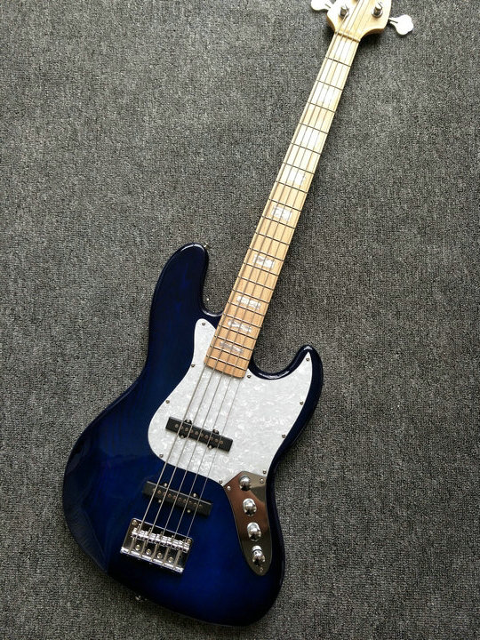 Factory Custom 5 String Electric Bass guitar,bule color solid ash wood 5 strings bass guitarra free shipping