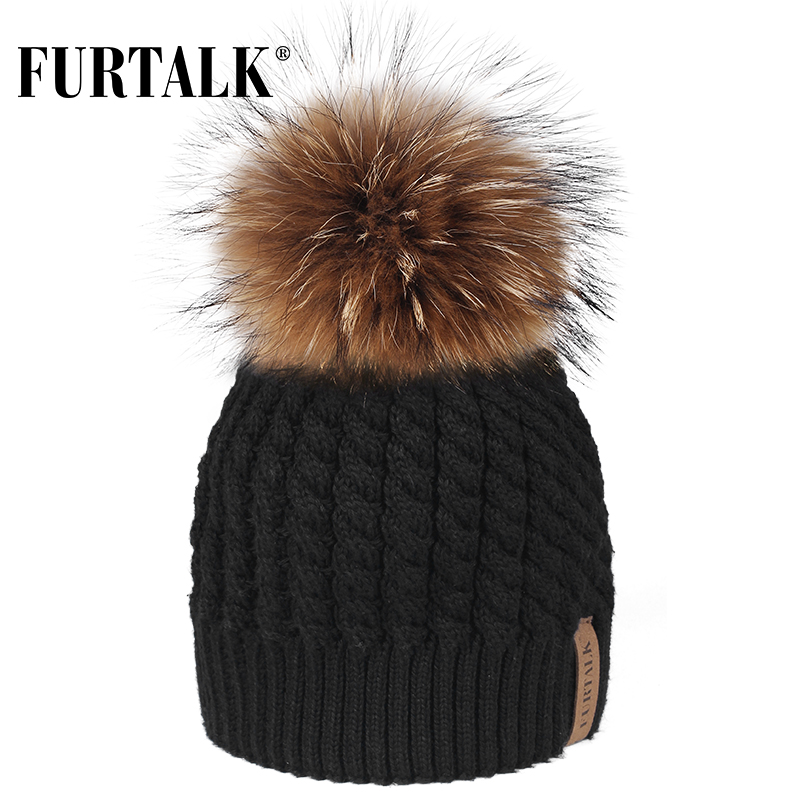 FURTALK Real Raccoon Fur Beanie Hat Women Winter Knitted Pompom Hat Beanie Caps Autumn Winter Female Pom Pom Hats For Girls