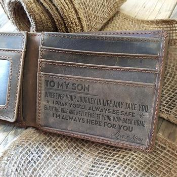 Mens Wallet - Grey Cow Leather Wallet, The Perfect Mens Gift, To My Mens Gift, Gifts for Husband, Son Gifts Personal Engraved