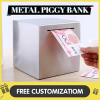 Piggy Bank No Exit Metal Money Box Coin Bank Safe Deposit Box Free Engraving Stainless Steel Square New Arrival C Zjbc 15F