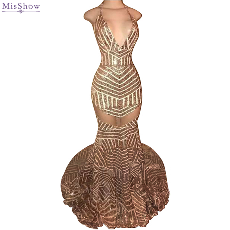 Sexy African Girl Mermaid   Prom     Dresses   2018 Deep V Neck Special Sequin Party   Dresses   Backless Evening   Dresses   Girls   Prom