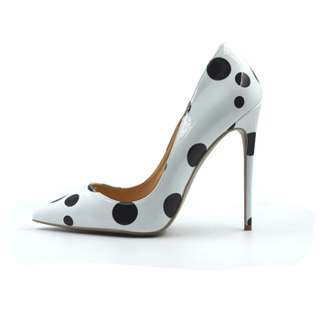 Big Size 34-45 White Color Black Dot Fashion Women High Heels Dress Shoes For Party