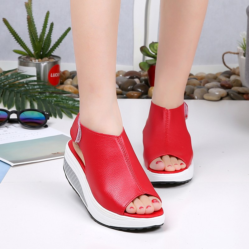 Lucyever 2019 Summer Women Wedges Platform Sandals Casual Peep Toe Heels Comfortable PU Leather Shoes Woman Zapatos MujerLucyever 2019 Summer Women Wedges Platform Sandals Casual Peep Toe Heels Comfortable PU Leather Shoes Woman Zapatos Mujer