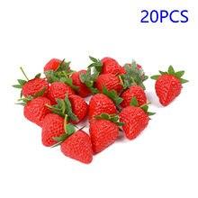 20 pièces fraise artificielle bricolage Fruits artificiels en plastique faux Fruits pour la décoration de mariage à la maison de noël