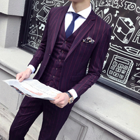 В полоску мужские Костюмы Slim Fit Фиолетовый мужские костюмы для выпускного классический Винтаж Костюмы Mens Stretch свадебное платье вечернее Trajes