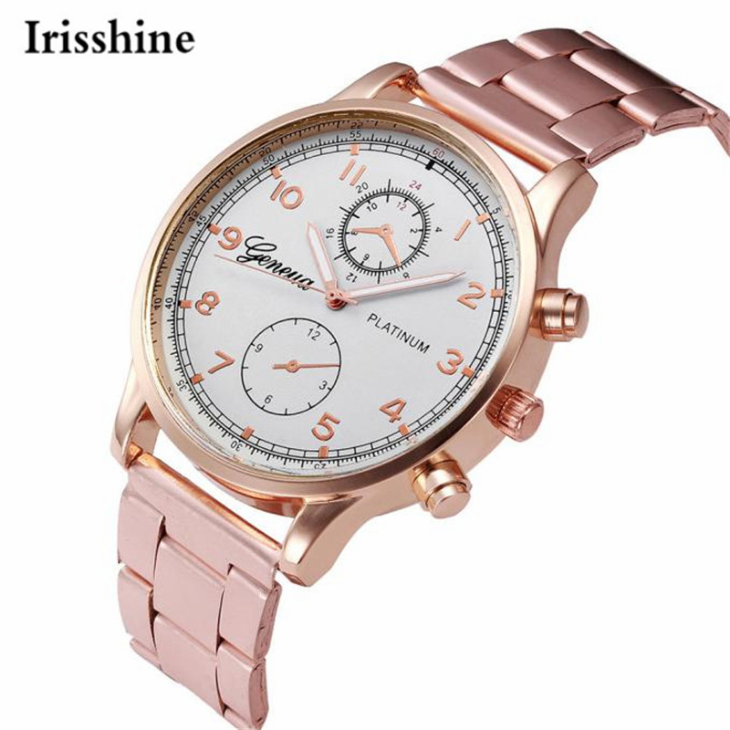 Irisshine I0898 Unisex Watches Love Gift Couple Brand Luxury Fashion Women Men Crystal Stainless Steel Analog Quartz Wristwatch