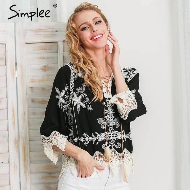 Simplee White lace up bordado blusa de algodão camisa das mulheres Do Vintage v franja pescoço blusa tops Chic blusa preta de manga comprida 2016