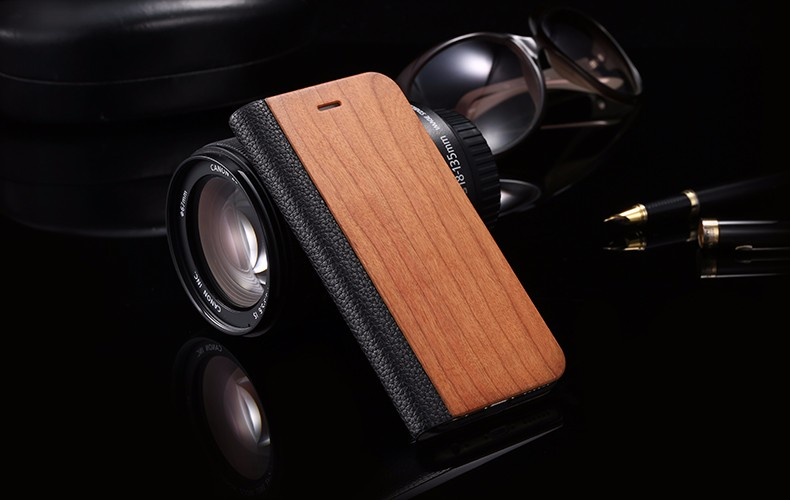 Vintage Genuine Bamboo Wood Flip Leathe Case For iPhone 6 6S Plus Real Rosewood Wooden Wallet Cover For iPhone 7 7 Plus Card Slot (9)